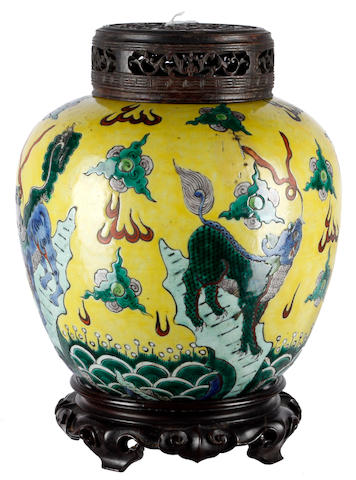 A Chinese enamelled ginger jar