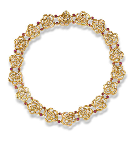 A ruby and diamond necklace, by Van Cleef & Arpels
