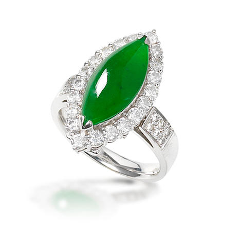 A jadeite and diamond ring