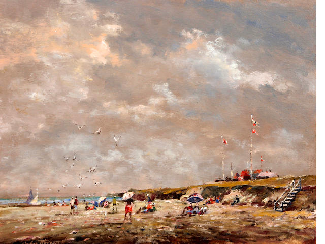 John Horwood (British), (later 20th century) Beach scene with figures