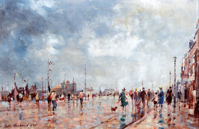 John Horwood (British), (later 20th century) Figures by harbour