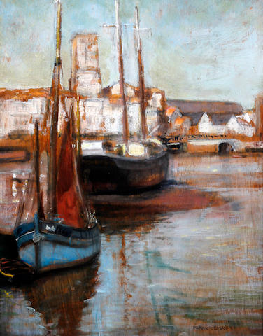 Frank Lewis Emanuel (British, 1866-1948) Harbour scene with boats, twilight, possibly French