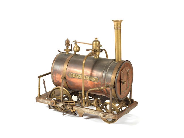 An interesting mid 19th century copper and brass 4in gauge live steam model of a 2-2-0 locomotive 'Penzance' Built by John Wilkins, 1854