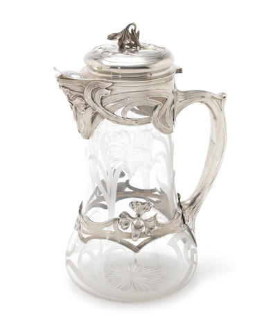 A French Art Nouveau silver mounted glass claret jug by Charles Forgelot, circa 1910