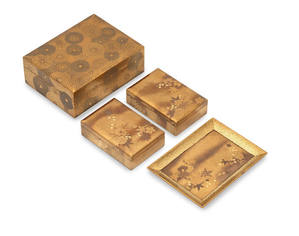A gold lacquer rectangular kobako (small box) and cover 19th century