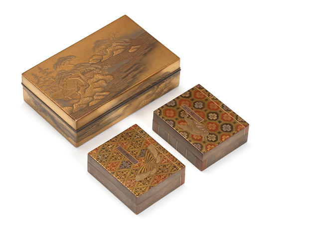 A gold lacquer rectangular kobako (small box) and cover Meiji Period