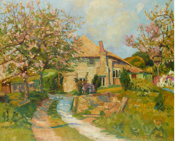 John Anthony Park (British, 1880-1962) A country cottage with trees in full bloom