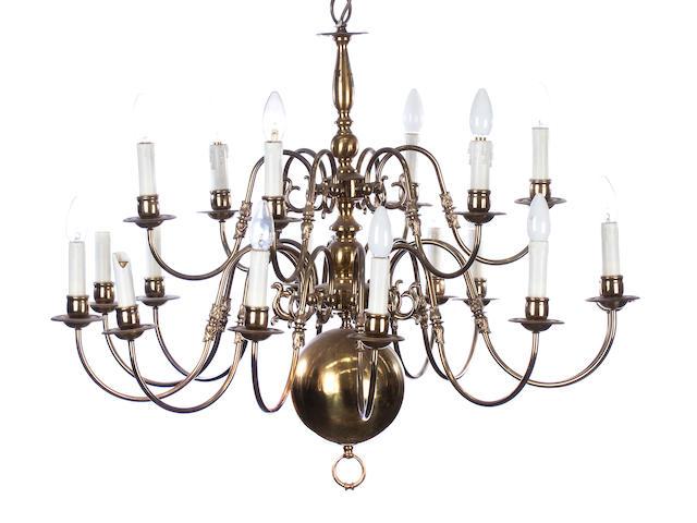 A 20th century eighteen light Dutch style brass chandelier