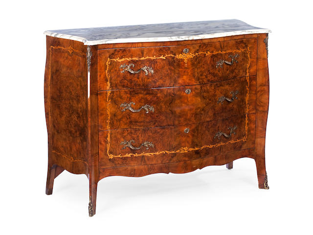 A 20th century Italian figured walnut and ormolu mounted serpentine commode