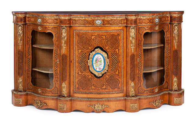 A Victorian satinwood, marquetry and porcelain mounted credenza