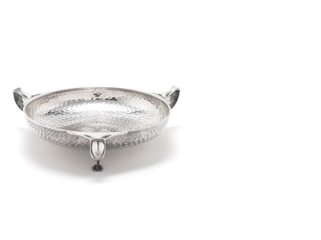 A three-handled  silver dish by Barker Bros, Birmingham 1939