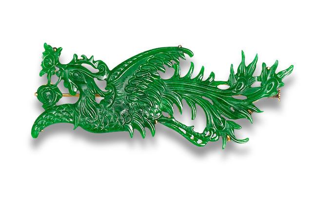 A carved jadeite brooch