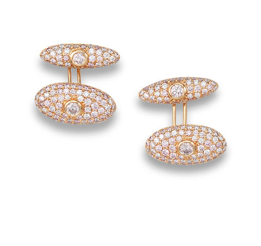 A pair of coloured diamond cufflinks