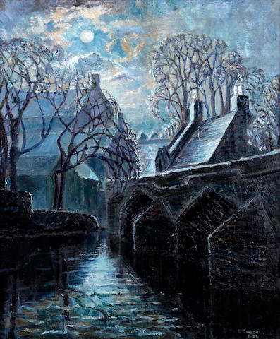 Evelyn Oughtred Buchanan (British, Stockton-on-Tees 1883-1979) Bridge and village by moonlight