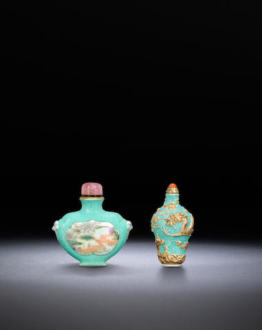 Two turquoise-ground porcelain snuff bottles Qing dynasty, 1780-1820