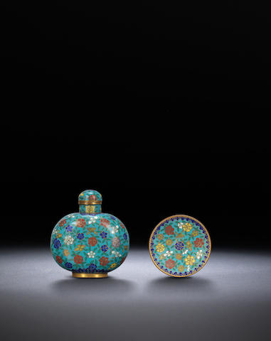 A millefleur cloisonné-enamelled and gilt-bronze snuff bottle and snuff dish Qing dynasty