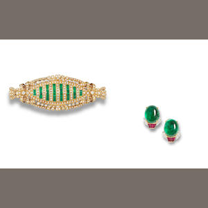 A pair of emerald, ruby and diamond earrings and an emerald and diamond brooch (2)