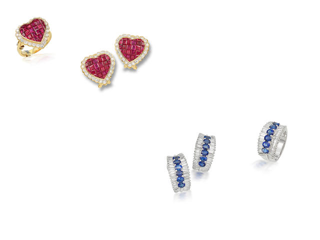 A group of diamond and gem-set jewellery (4)