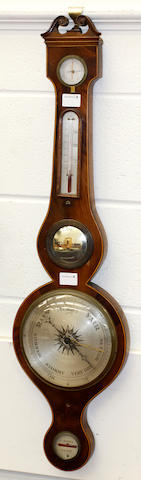 A Victorian mahogany wheel barometer,by C. Botta, Poole,