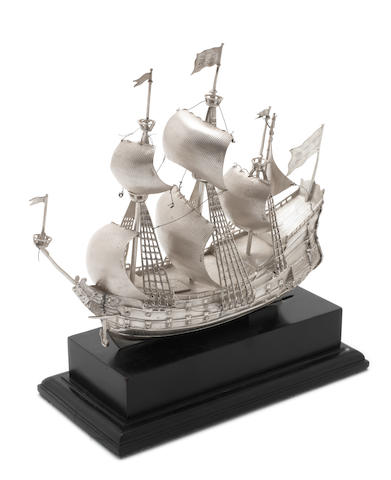 A  silver galleon with importers mark for ABD, London 1928