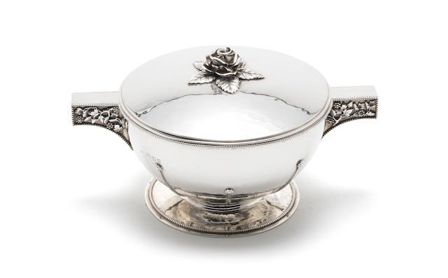 CHARLES BOYTON: A silver two-handle covered bowl London 1938, also with facsimile signature  (2)
