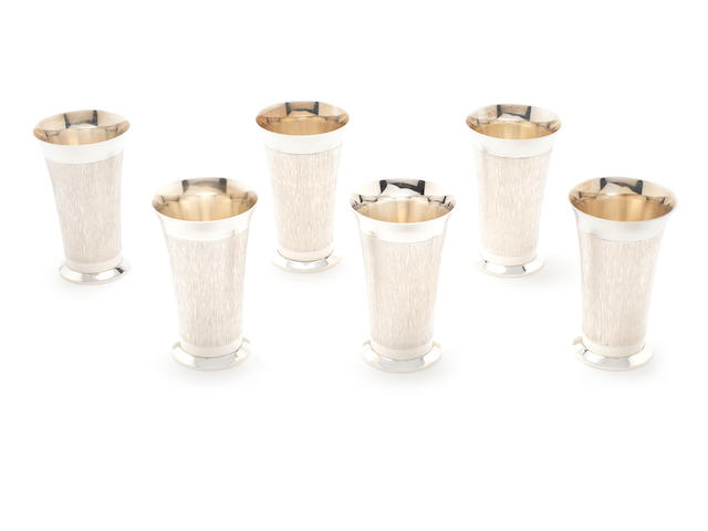 Six silver goblets by C. J. Vander Ltd, London 1973  (6)