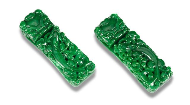 A pair of jadeite belt hooks