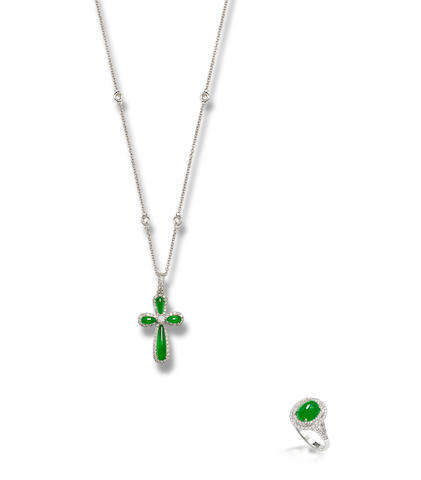 A jadeite and diamond pendant necklace and ring (2)
