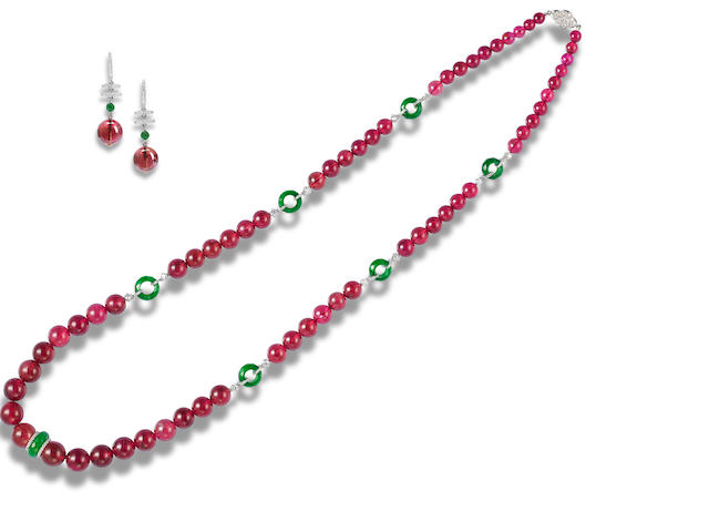 A rubellite, jadeite and diamond necklace and earring suite (2)