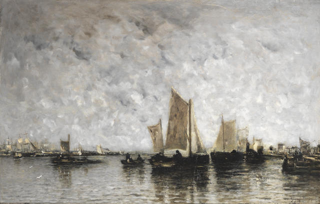 Wilhelm von Gegerfelt (German, 1844-1920) Sail and steam vessels in an estuary