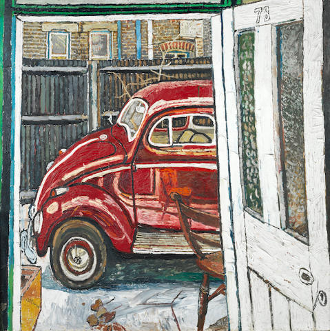 John Bratby R.A. (British, 1928-1992) Red Beatle 121.4 x 122.5 cm. (47 3/4 x 48 1/4 in.)