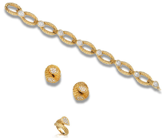 A gold and diamond bracelet, ring and earring suite, by Boucheron (3)