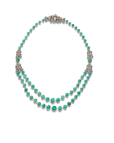 An emerald and diamond necklace,  by Buccellati