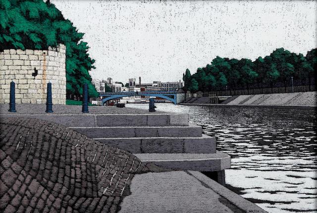 Stuart Walton (British, born Leeds 1934) 'River Scene, York'