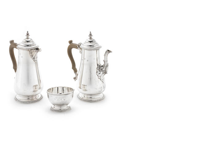 A silver three-piece cafe au lait set, in the 18th century manner by W Greenwood & Sons, London 1939 / 1940  (3)