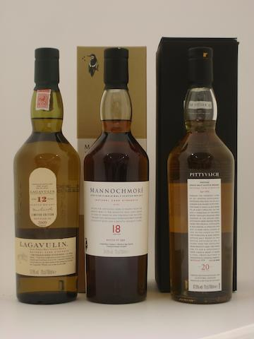 Lagavulin-12 year old<BR /> Mannochmore-18 year old-1990<BR /> Pittyvaich-20 year old-1989