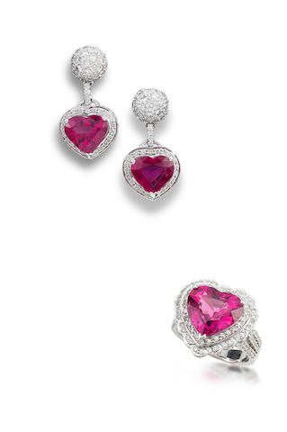 A rubellite tourmaline and diamond ring and earring suite (2)