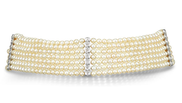 A natural pearl and diamond choker necklace