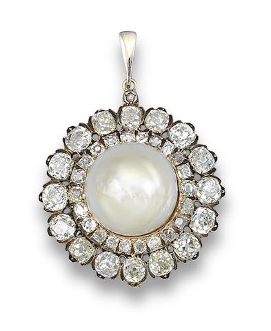A late 19th century pearl and diamond pendant