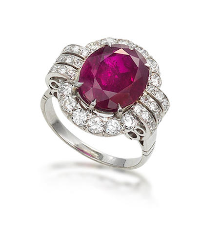 A ruby and diamond ring