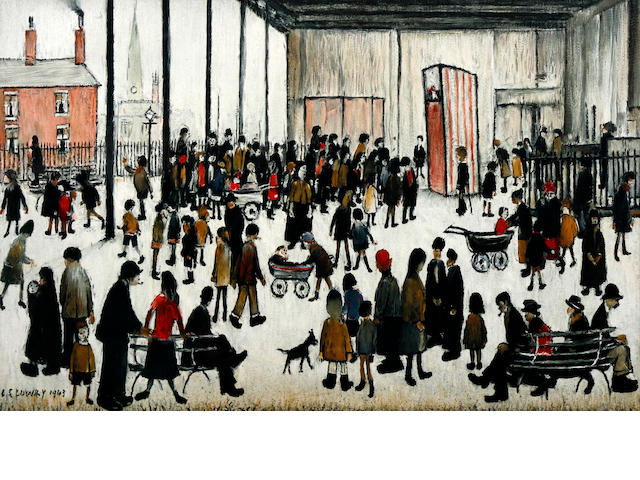 Laurence Stephen Lowry R.A. (British, 1887-1976) Punch & Judy  Offset lithograph printed in colours, 1947, on wove, the edition was 6000, printed for School Prints Ltd., London,