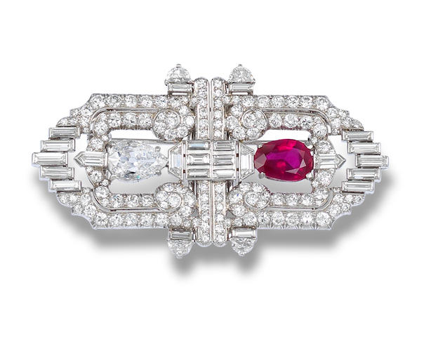 An Art Deco ruby and diamond double-clip brooch,