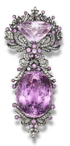 A kunzite and diamond brooch