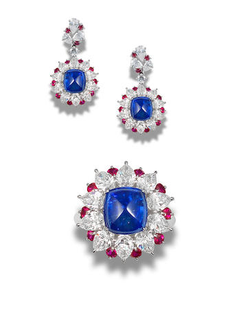 A sapphire, diamond and ruby ring and earring suite (2)