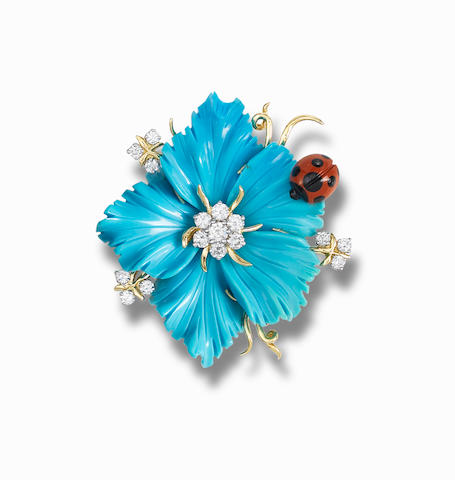 A turquoise and gem-set brooch