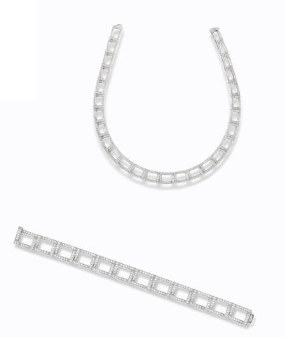 A diamond necklace and bracelet suite, by Tiffany & Co. (2)