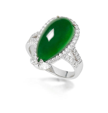 A jadeite and diamond ring in 18k white gold