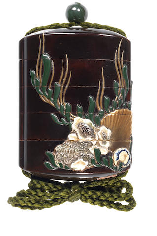 An inlaid black lacquer four-case inro By Jitokushi Keigai, early 19th century