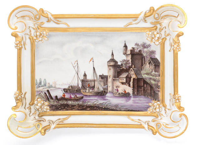 Two large Fuerstenberg plaques, circa 1760, harbour scenes