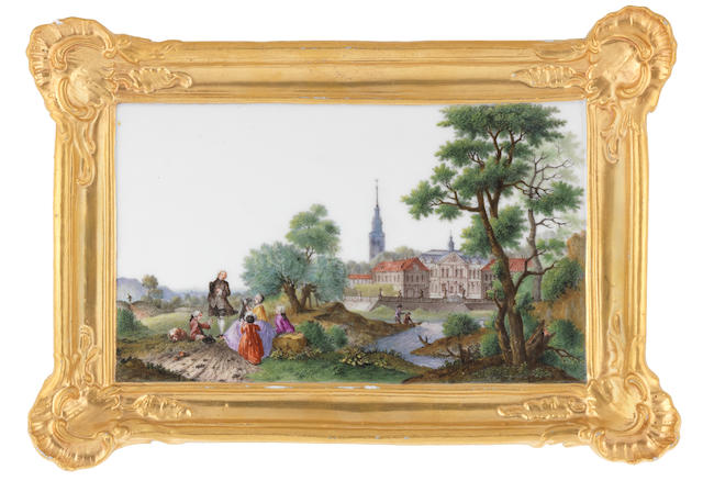 A Meissen plaque, circa 1760, figures in landscape with a Palace and Church